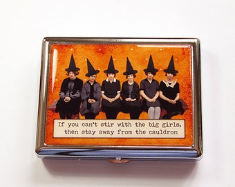Metal cigarette case, Cigarette Box, cigarette case humor, Metal Wallet, Metal Cigarette Box, Witch, Halloween, Humor, Orange, Black (4937)