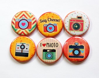 Photography Magnets, Button magnets, Camera Magnets, Kitchen Magnets, Fridge Magnet, gift for photographer, photography, Say Cheese (5004)