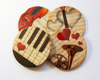 Music Coasters, Coasters, Drink Coasters, Wine Coasters, Round Coaster, Tableware, Music Teacher gift, Entertaining, Music Theme (5022)