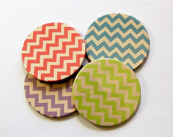 Coasters, Chevron Coasters, Wine Coasters, Drink Coasters, Hostess Gift, Housewarming Gift, Stocking Stuffer, Chevron, Tableware (5027)