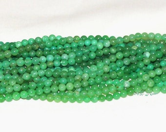 "Australia Chrysoprase 4-4.5mm Round Gemstone Beads - 15.75"" Strand"