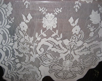 white lace curtain panel abstract leaf design 80