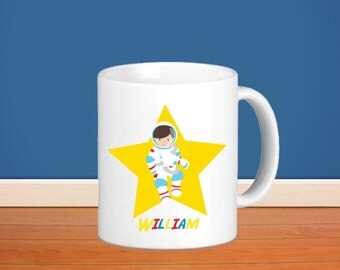 Astronaut Kids Personalized Mug - Astronaut Yellow Star with Name, Child Personalized Ceramic or Poly Mug Gift