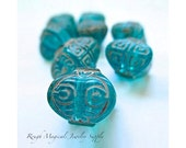 Teal Turquoise Beads. 10mm x 11mm Chunky Cube Beads. Acrylic Beads. Etched Beige Abstract Greek Key. Blue Green Japanese Lanterns - 7 Pieces