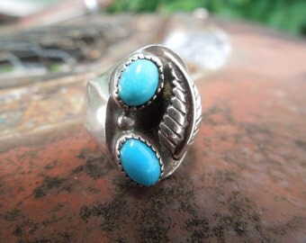 Navajo Sterling Silver Turquoise Ring  Native American Size 5