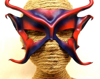 Pixie Sprite, Red and Purple Leather Art Mask, Djinn or Genie,Mischievous Faery Mask with Horns and  Ears