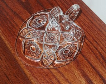 """EAPG CRYSTAL NAPPY Handled Nut Candy Mints Dish Bowl Flat 7"""" Wide Server Clear Pressed Glass Criss Cross Hobstar Fan Excellent Condition"""