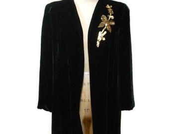 vintage 1940s velvet jacket / black gold sequins / floral / quilted lining / 40s evening jacket / women's vintage jacket / size large