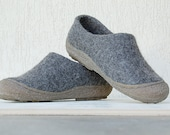 Felted wool clogs in dark gray with rubber toe soles - natural dark grey organic wool booties with rubber soles