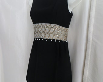 Vintage 60s womens mini dress, tunic top, sleeveless empire waist, dressy formal fancy beaded sequin holiday dress black white gold size 5 S