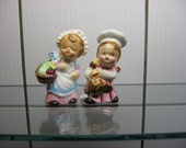 Vintage PY Salt & Pepper Shakers little Chef and Cook with Nanco foil labels