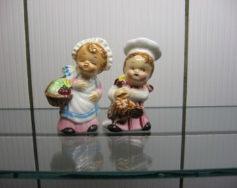 Vintage PY Salt & Pepper Shakers little Chef and Cook with Nanco foil labels - porcelain salt and pepper shaker set