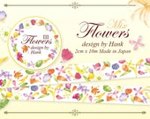 made in Japan x Taiwan Designer personal special order masking tape -Limited Edition OURS Flower 3 Mix Garden 1 ROLL