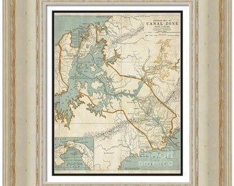 MAP of PANAMA CANAL Zone in a Vintage Grunge Weathered Antique style