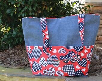 Blue Denim & Hearts Reversible Tote Bag