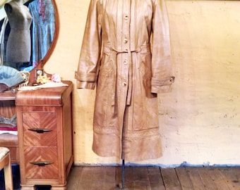 Light Tan Hooded Leather Spy Trench Coat Hippie S / M
