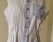 1950's Womens Cotton Sleeveless Blouse