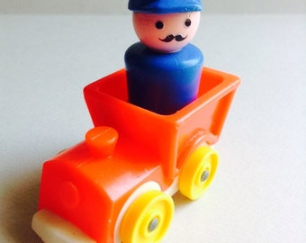 Fisher Price Train with Conductor, figure, 2 piece set, original, collectible, Little People, vintage toys, made in U.S.A., Greece