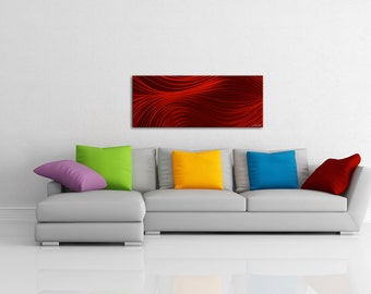 Modern Red Art 'Passing Currents' Deep Crimson Art, Warm Artwork - Red Wave Design, Contemporary Burlesque Decor - Metallic Giclée Painting