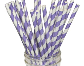 Paper Straw, Lavender Stripe, Light Purple Lilac Straws