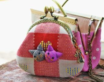 Coin purse, Cat purse, Kiss lock coin purse