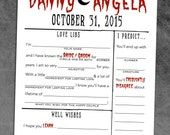 Halloween Wedding Guest Book [Vampire / Dracula / Zombie] Rehearsal Dinner Game / Reception Activity - Predictions, Guest Libs, Sketch]