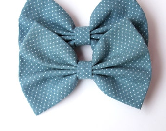 Arden Hair Bow - Blue/Gray & White Mini Polka Dot Hair Bow with Clip