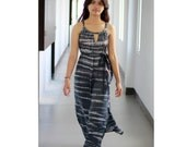 Tie Dye Maxi Dress, Grey Summer dress, Long dres, cut out dress, beach cover up