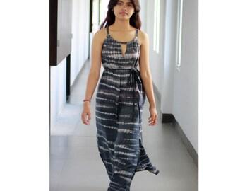 Tie Dye Maxi Dress, Grey Summer dress, Long dres, cut out dress, beach cover up