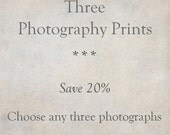 Custom Photography Print Set of 3, Rustic Fine Art Photographs, Wall Art, Home Decor | SAVE 20%
