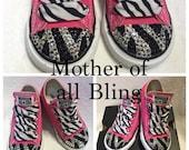 Swarovski Crystal Zebra Converse Infant/Toddler Shoes
