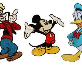 3 Patch Set: Mickey, Donald, & Goofy Disney Embroidered Iron On Applique Patches
