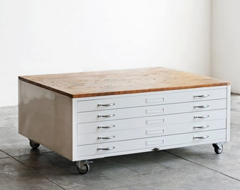 Vintage Flat File Coffee Table in High Gloss White with Reclaimed Wood - SPECIAL ORDER