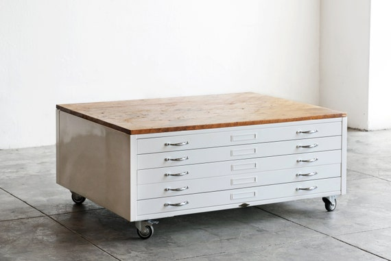 Vintage Flat File Coffee Table In High Gloss White With