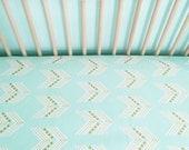 Crib Sheet Mint Gold Chevron. Fitted Crib Sheet. Baby Bedding. Crib Bedding. Minky Crib Sheet. Crib Sheets. Chevron Crib Sheet.