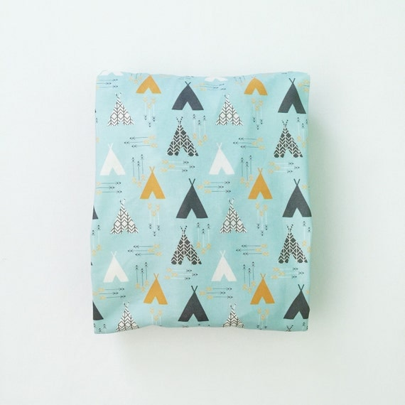 Crib Sheet Aqua Teepees Fitted Crib Sheet Baby By Iviebaby