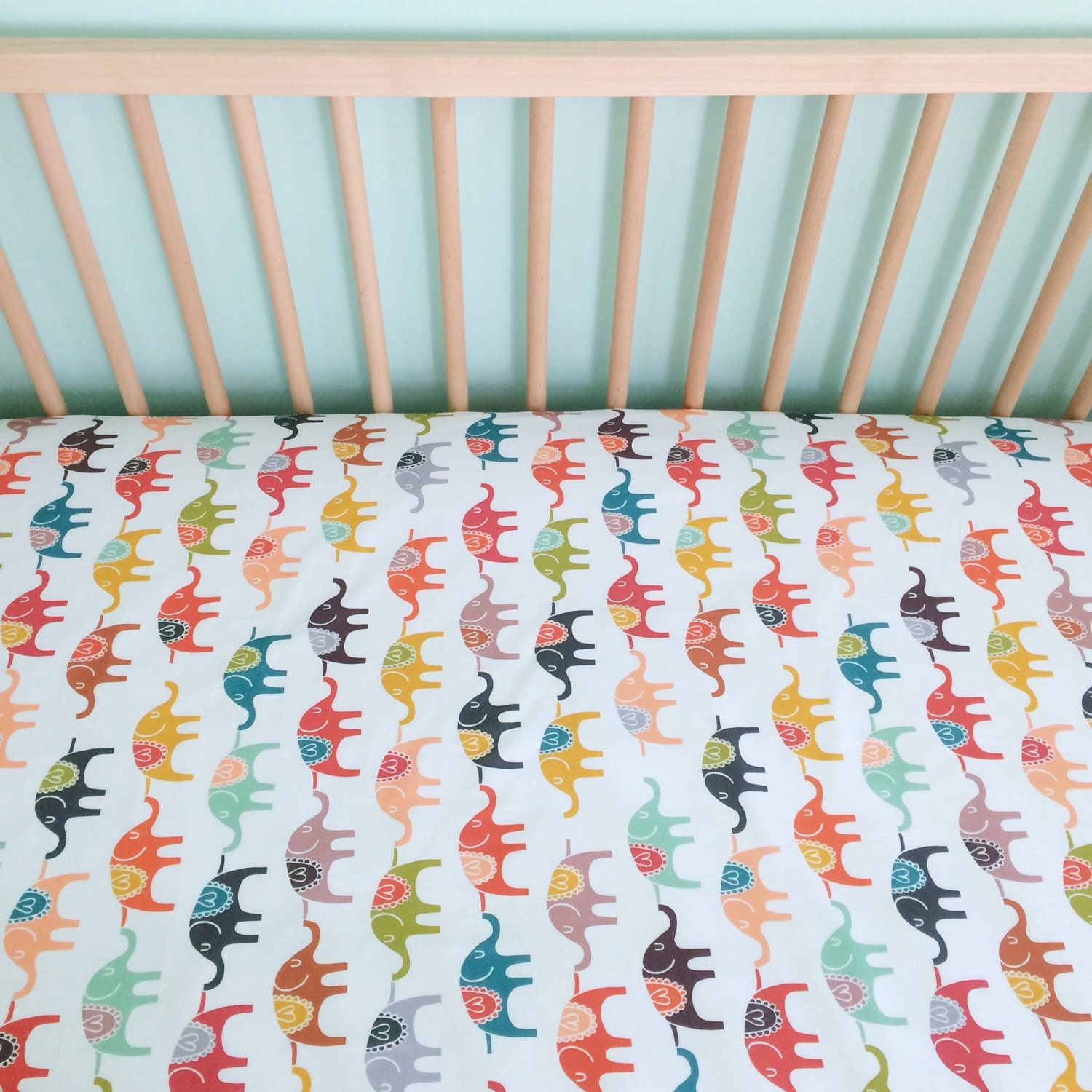 crib sheet in colorful elephants made to order by iviebaby. Black Bedroom Furniture Sets. Home Design Ideas