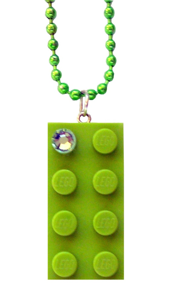 Light Green LEGO (R) brick 2x4 with a Green SWAROVSKI crystal on a Silver/Gold plated trace chain or on a Green ballchain