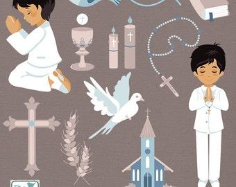 Boy First Communion Clip Art - Communion Clipart, Catholic Vector Graphic - INSTANT DOWNLOAD