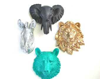 Set of 4 ANY COLOR Combination Choose from 6 small faux animal heads: sm. bear wolf tiger lion zebra OR elephant Faux Taxidermy wall mounts