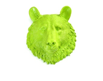 LIME GREEN Small Faux Taxidermy Bear Animal Head wall mount wall hanging in Lime Green home decor kids room nursery office wall decor
