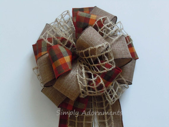 Burlap Fall Plaid Bow Rustic Burlap Fall Wedding Decoration Fall Country Wedding Bows Fall Autumn Thanksgiving Wreath Bows Church Aisle Bow