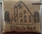 Bless Our Home Blackwork Stitchery Pillow