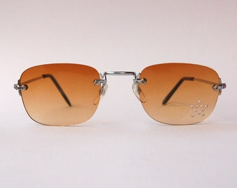 Authentic Vintage 2000s Brown Lens Sunglasses/ Squared Shades w Silver Tone Frame - NOS Dead Stock Steampunk /Grunge/Rave