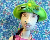 Yvonne - 17 inch tall cloth doll in pink-purple gauze maxi dress with green hat and flowers