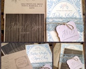 Vintage Wedding Invitations - Barn Romance Collection - Rustic - Lace - Country Blue Pale Orchid Tint Gray Dusty Pink Rose Taupe  - Eco