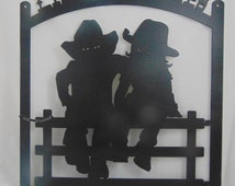 """Western Custom Metal """"Lil Cowpokes Welcome"""" Sign / Wall Hanging, Cowboy and Cowgirl, Kids, Children, Grandkids"""