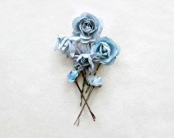 Flower Hair Accessories in Dusty Blue. Handmade Paper Flower Hair Pins for Rustic Bride's Something Blue. Blue Flower Hair Clips for Wedding
