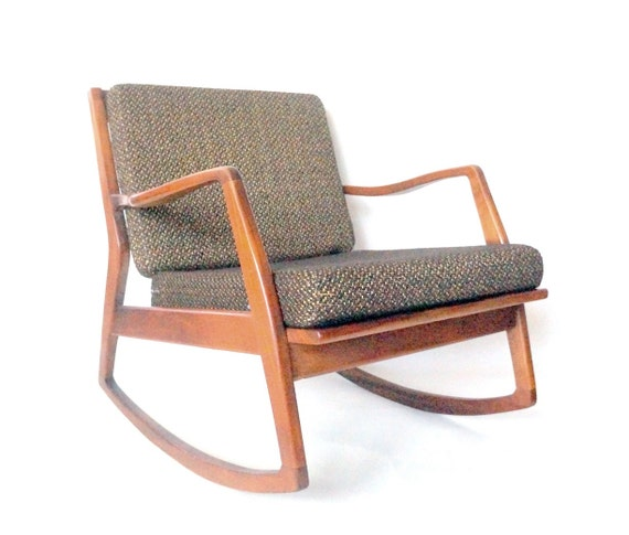 Danish modern rocking chair with removable cushions home chair