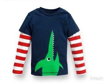 toddler boy clothes, toddler boy long sleeve shirt, boys shirt sawfish, toddler shirt organic cotton, toddler fall shirt, 100% cotton